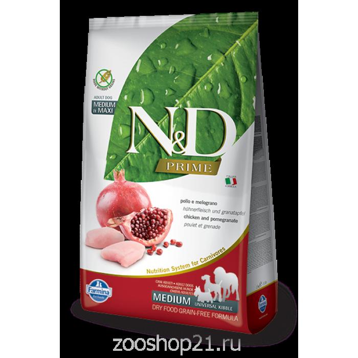 Корм Farmina N&D Chicken & Pomegranate Adult беззерновой для взрослых собак курица с гранатом, 12 кг